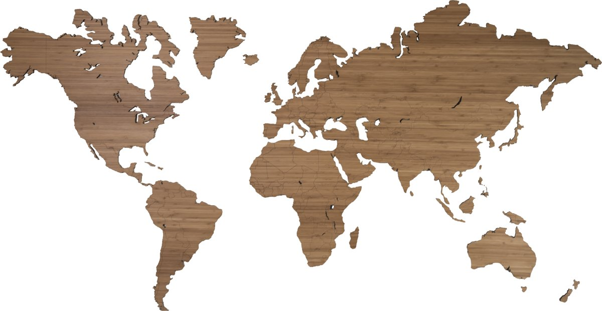 Bamboe wereldkaart 160 x 86cm