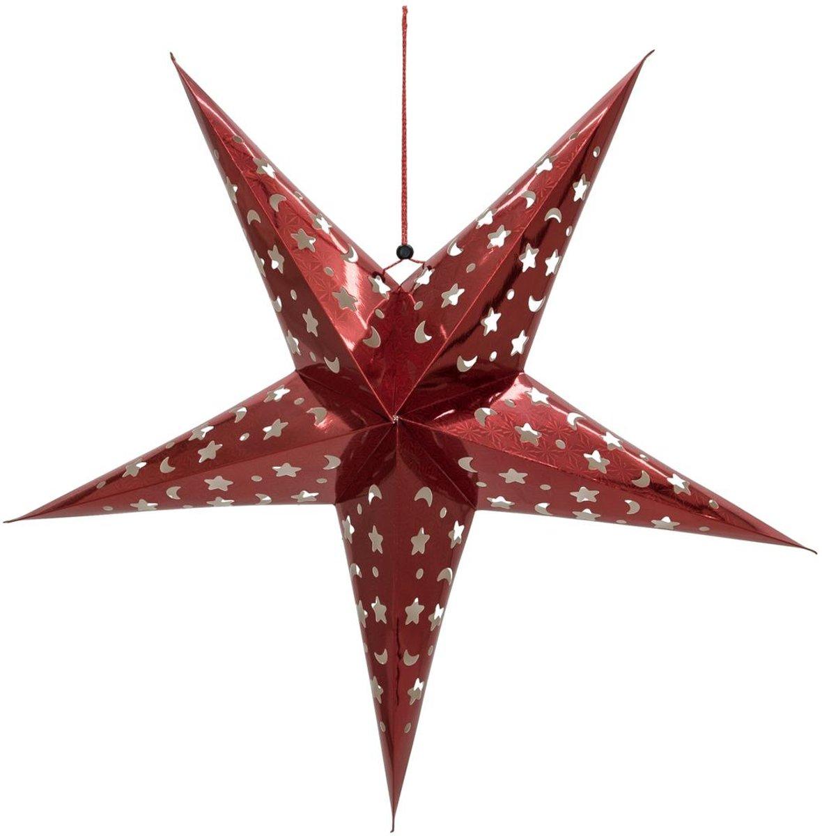 Europalms Kerstster - Papier - Rood - 75 cm - opvouwbaar - Kerstdecoratie kopen