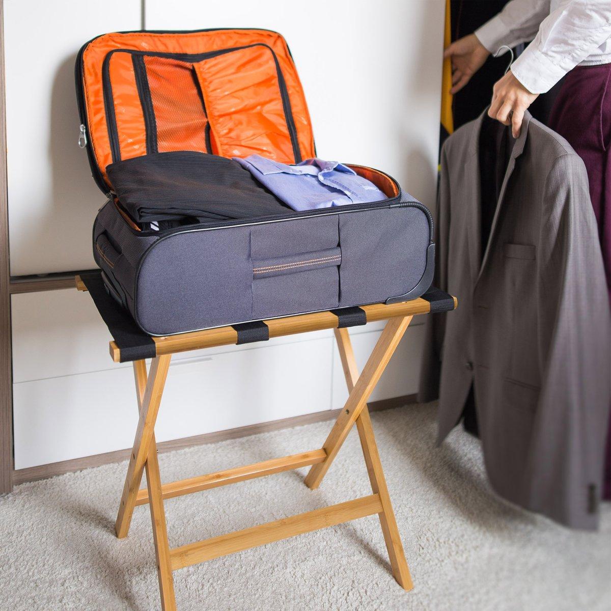 fae04800b2f bol.com | relaxdays kofferrek van bamboe, bagagerek inklapbaar,  kofferstandaard hout bruin