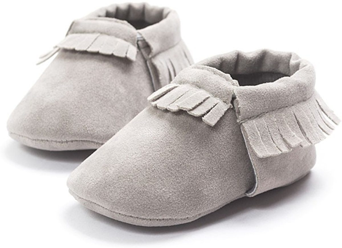 Baby Moccasin - Grijs - Maat M - Moccasins - Suede - Unisex - Baby Slofjes - Baby schoenen - Babyschoenen - Babyslofjes - Mockies