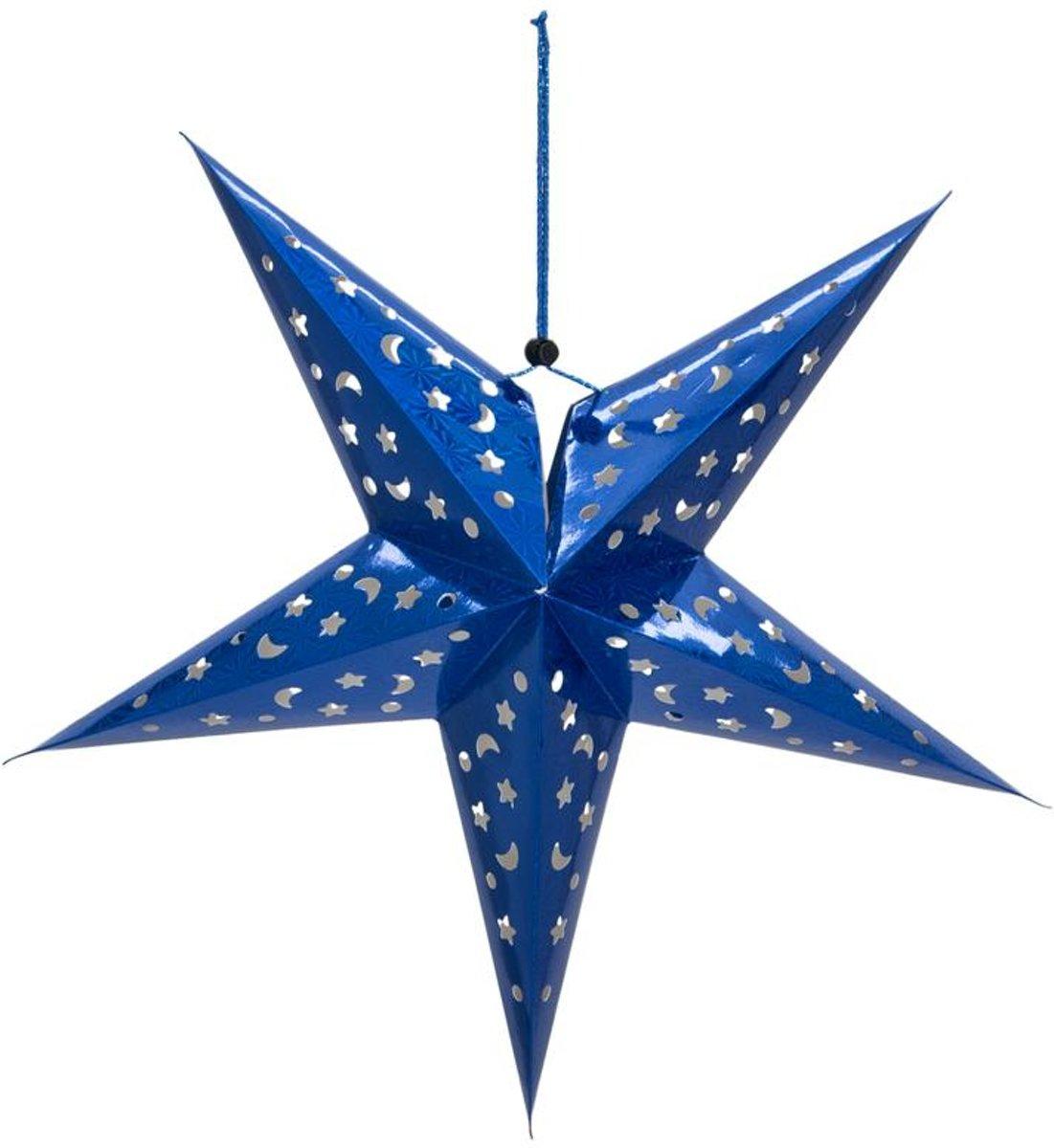 Europalms Kerstster - Papier - Blauw - 40 cm - opvouwbaar - Kerstdecoratie kopen