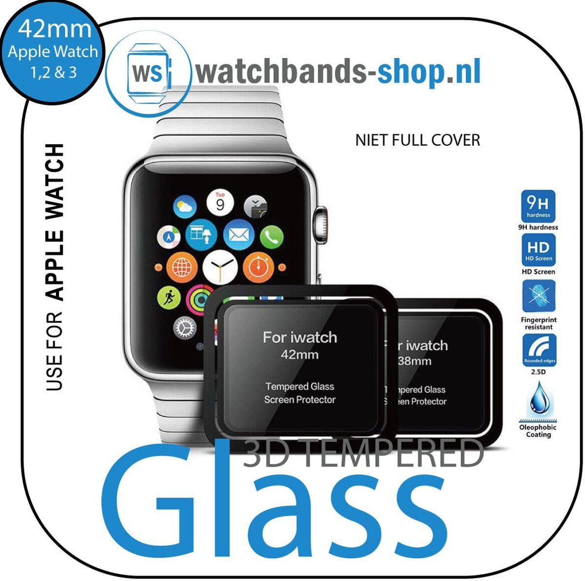 Screen Protector Tempered Glass Apple Watch Series 1 / 2 / 3 (42mm) - Black edge | niet full cover Watchbands-shop.nl kopen