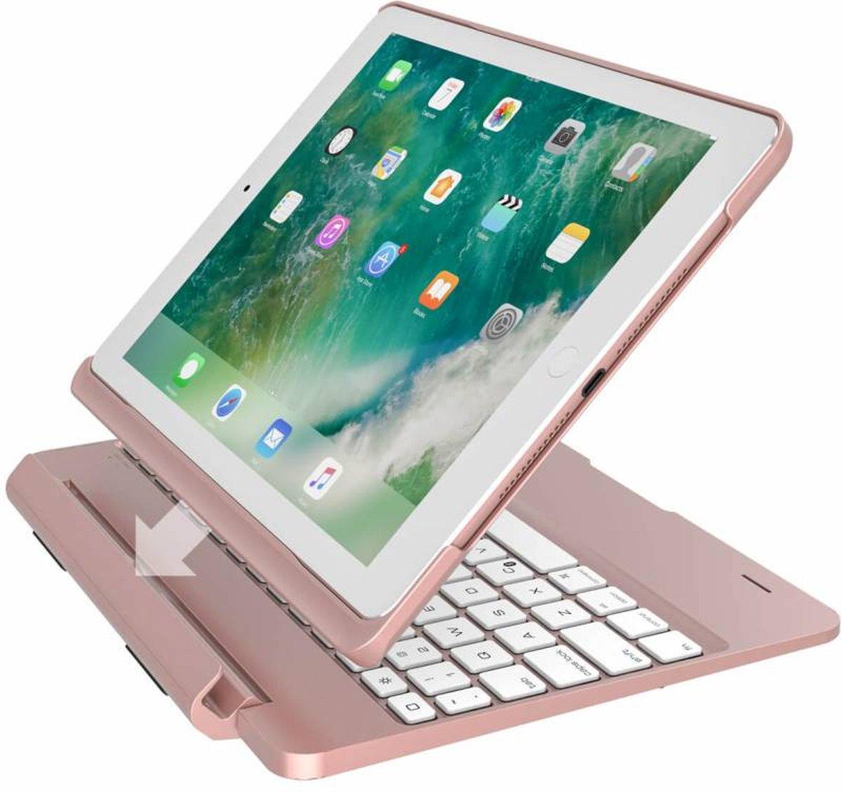 iPadspullekes.nl iPad 2017 toetsenbord met afneembare case roze kopen