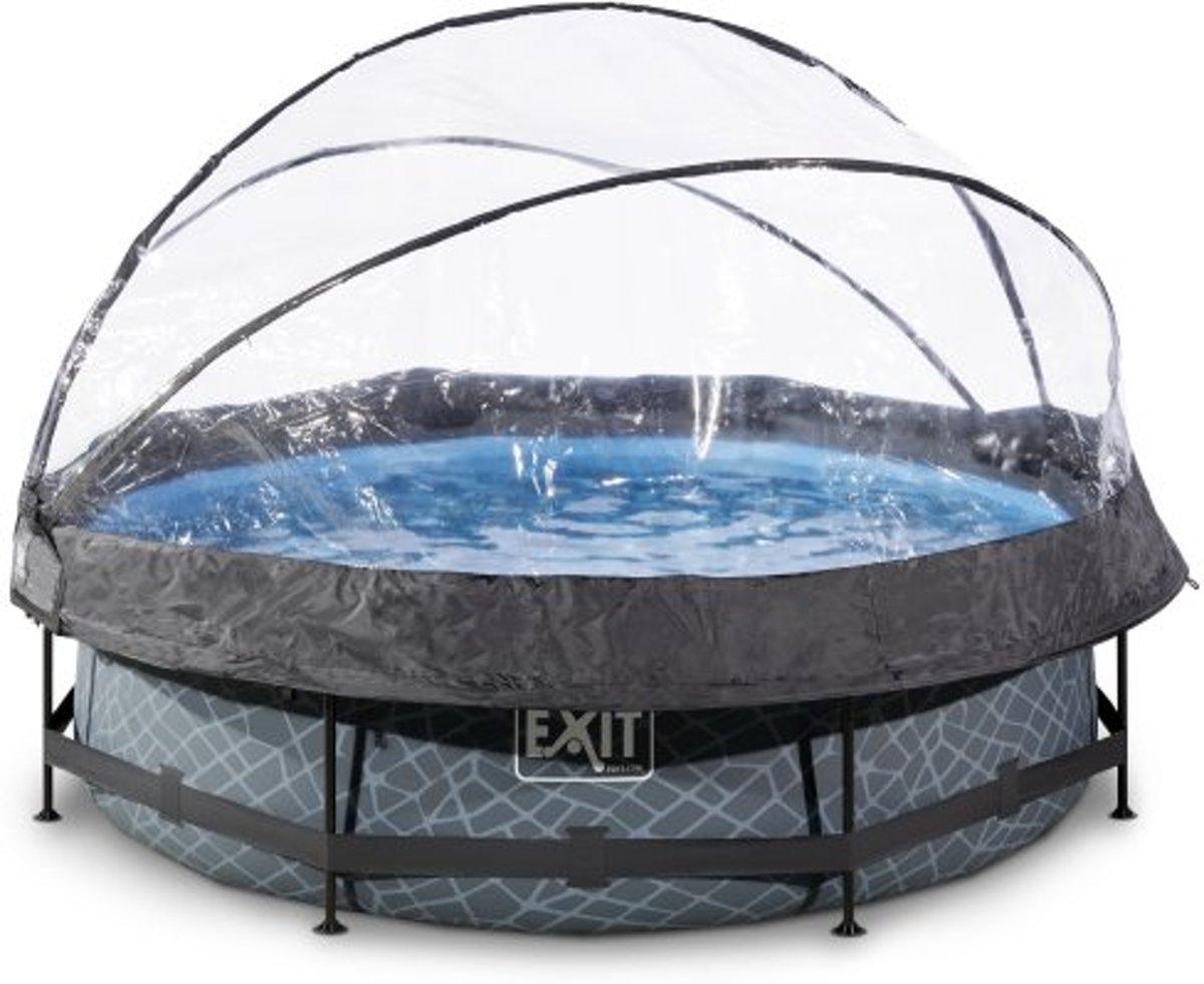 EXIT Stone zwembad ø300x76cm met overkapping en filterpomp - grijs