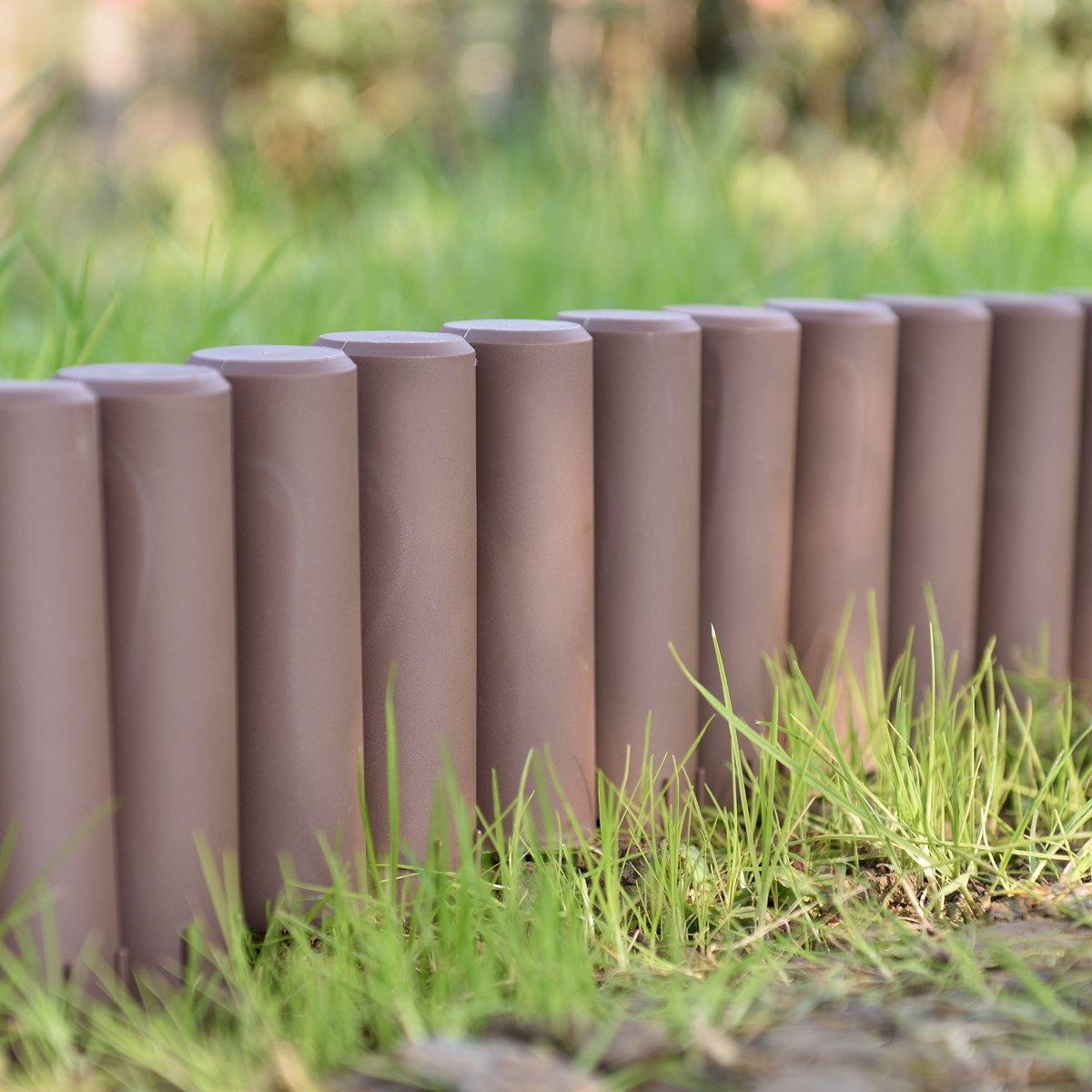 Palissade - borderrand - kunststof - bruin - 5,4m kopen