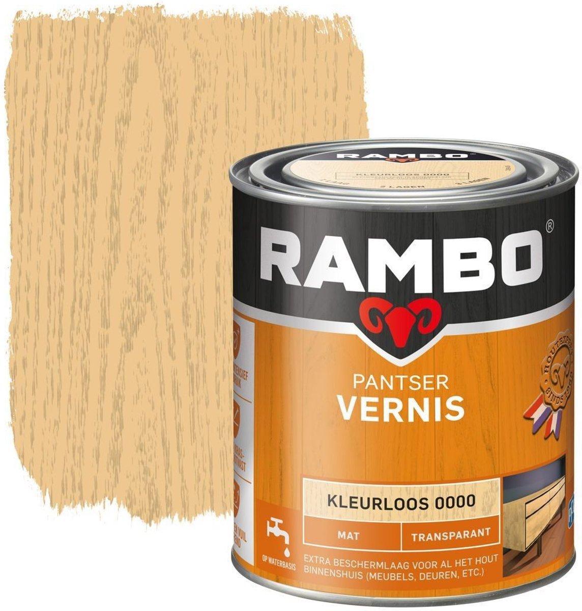 Rambo Pantser Vernis Transparant Mat Kleurloos 0000-0,75 Ltr