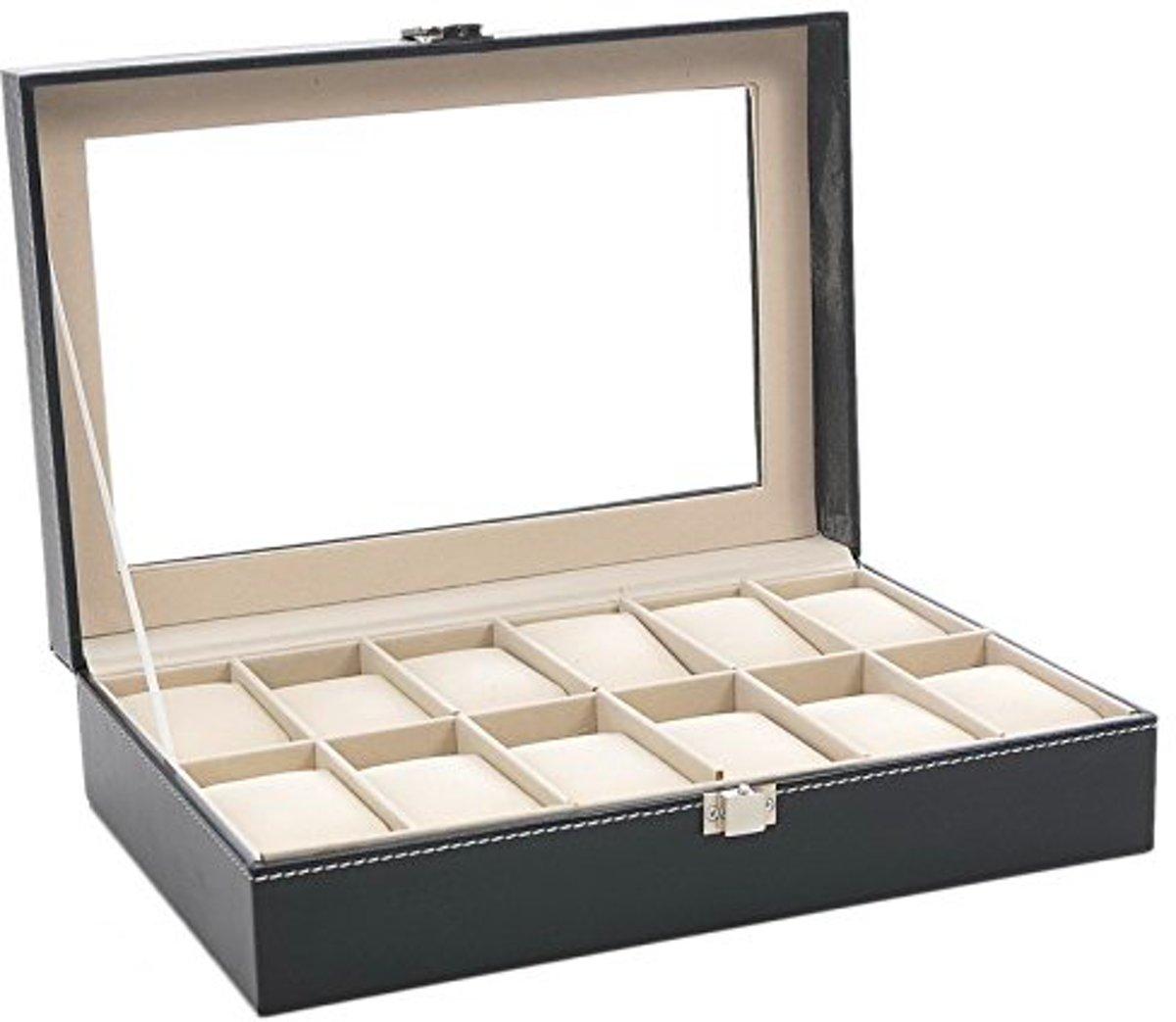 Luxe Horloge Box Geschikt voor 12 Horloges Zwart   – Horloge opbergdoos – Horloge doos kopen