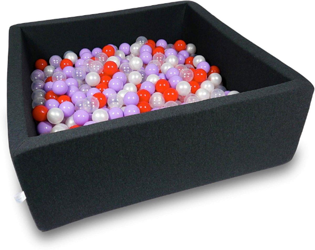 Ballenbak - 600 ballen - 110 x 110 cm - ballenbad - vierkant zwart