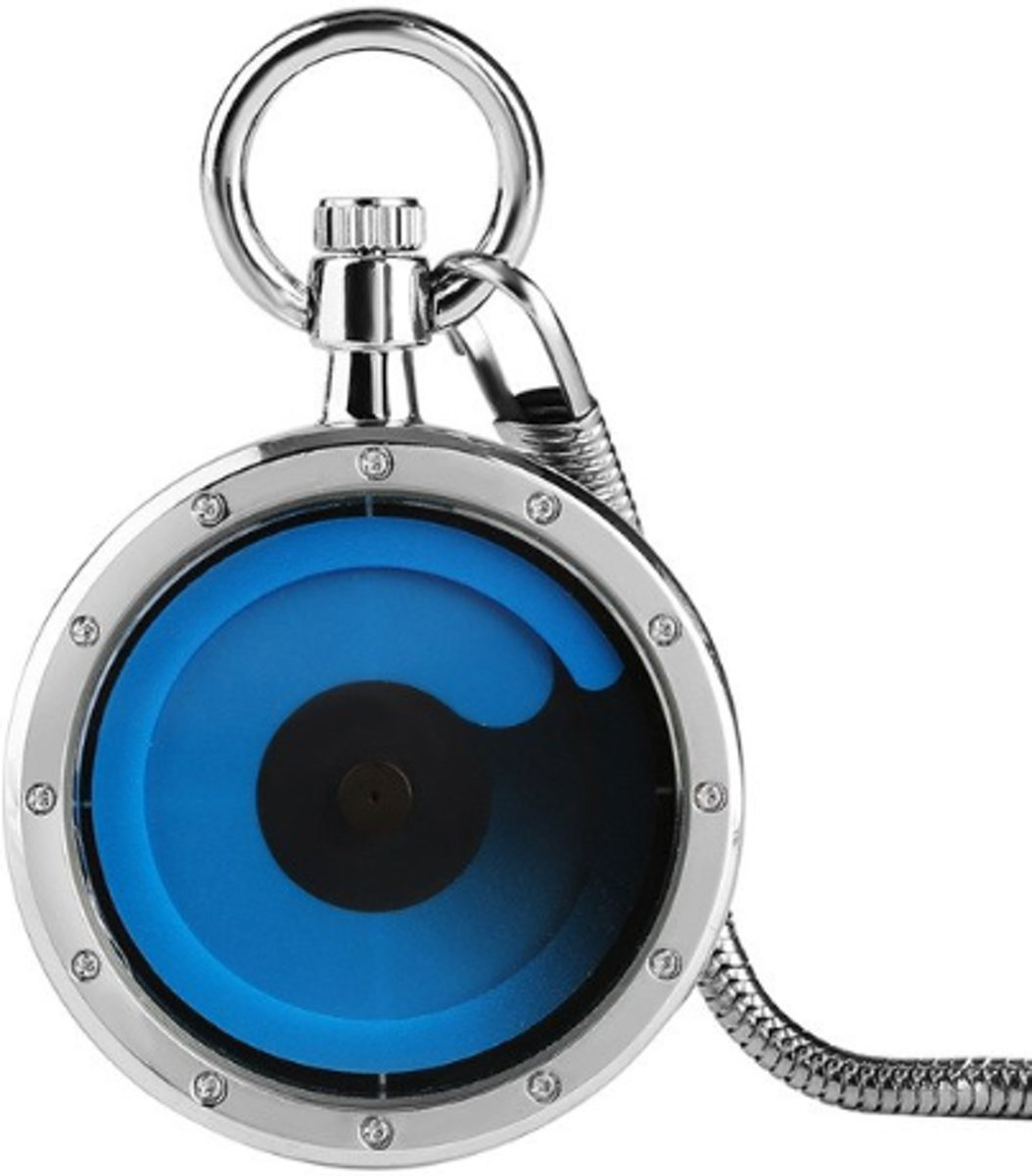 Zakhorloge Draaitafel met Snake Chain - Blauw/Zilver kopen