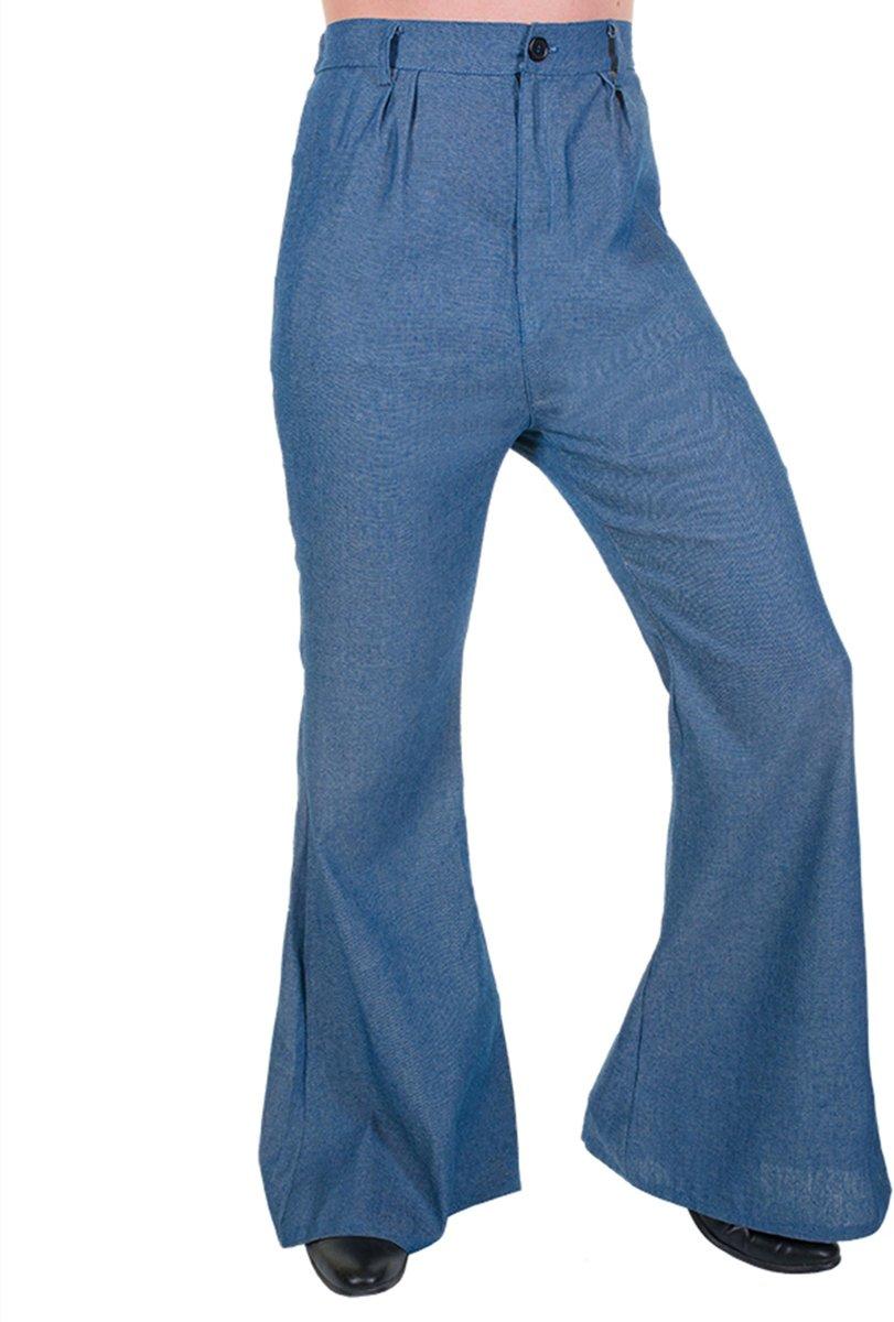 Jean kleurige discobroek voor mannen - Verkleedkleding - Maat XL