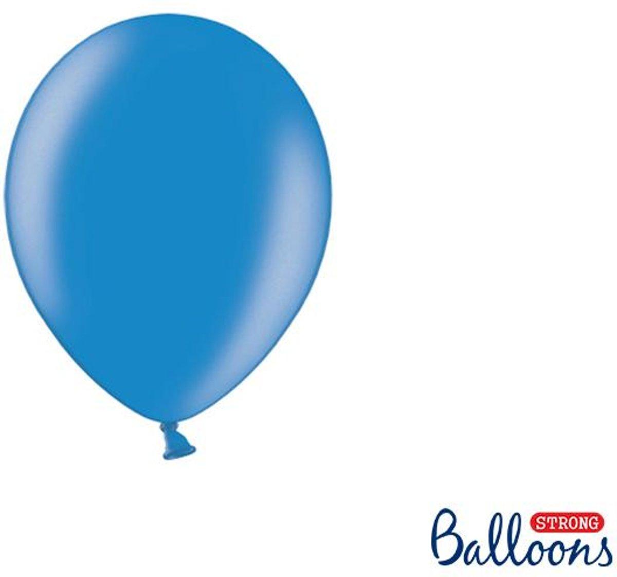Strong Ballonnen 12cm, Metallic Cornflower blauw (1 zakje met 100 stuks)