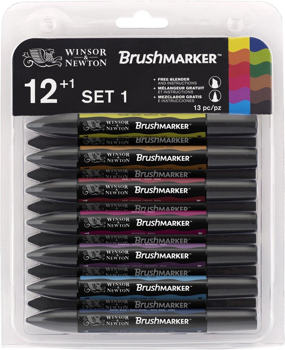 Winsor & Newton Brushmarker set 12 heldere kleuren