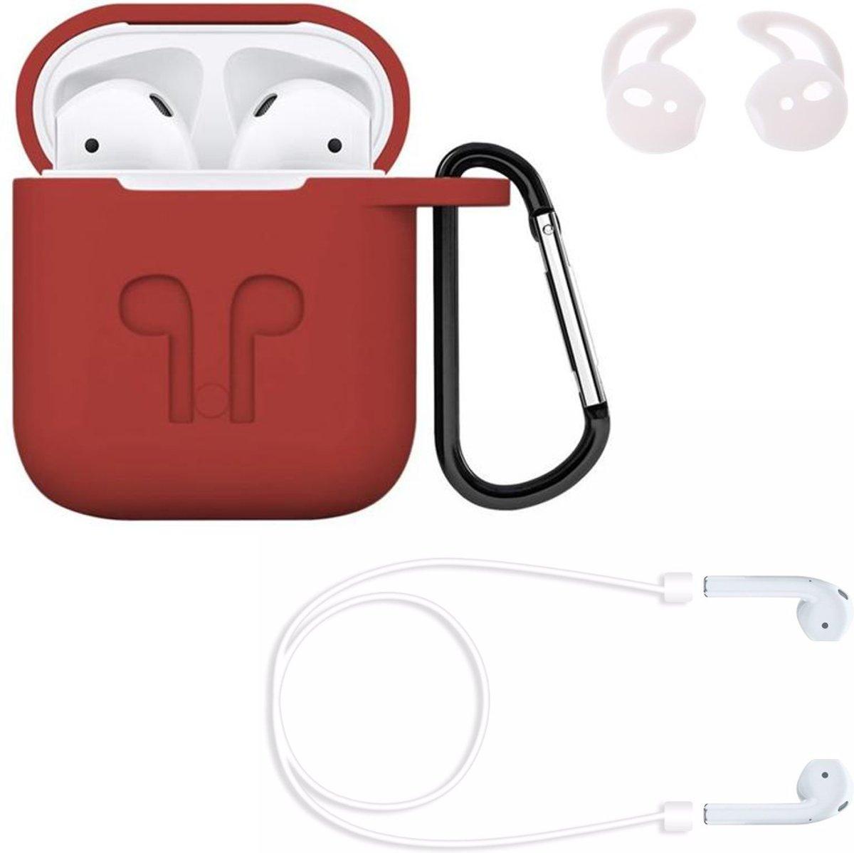 Airpods hoesje siliconen case - 3 in 1 set + strap + earhoox voor Apple Airpods - Rood - KELERINO. kopen