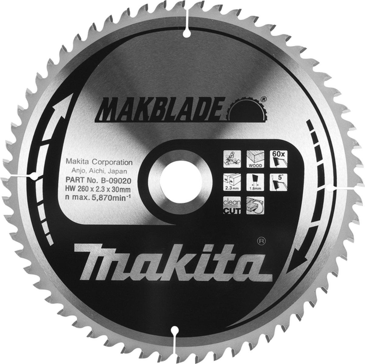 Makita B-09117 Zaagb hout 260x30x2,3 100T 5g