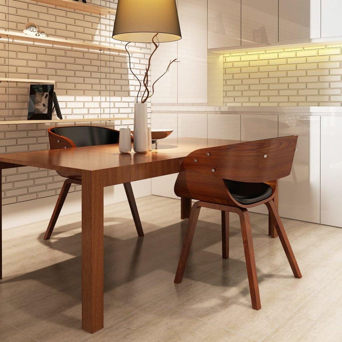 vidaXL Eetkamerstoelen Shanghai hout bruin 2 st
