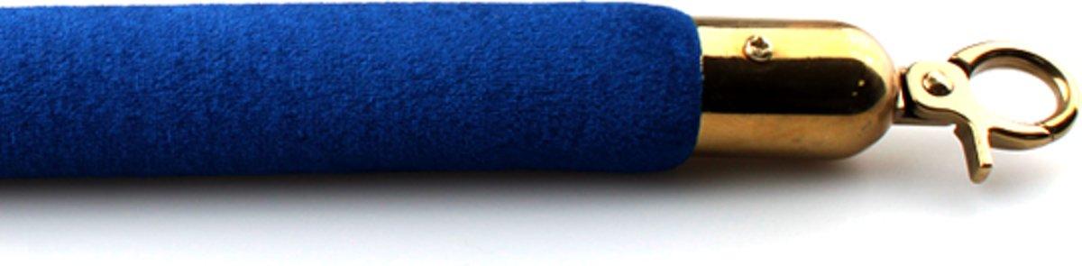 Velours koord blauw met messing sluiting
