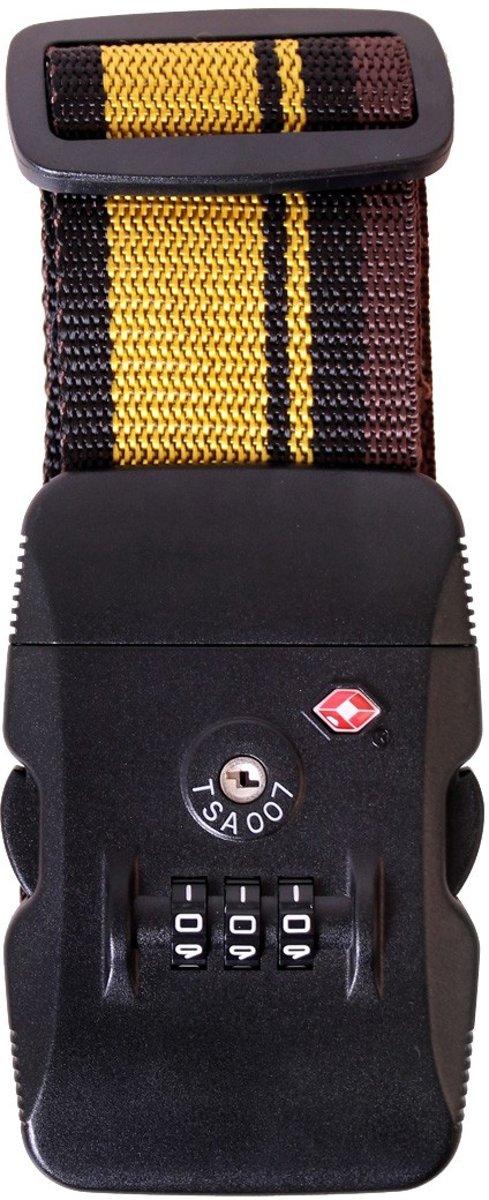 Karry Kofferriem Zwart Geel TSA-slot 105-193cm kopen