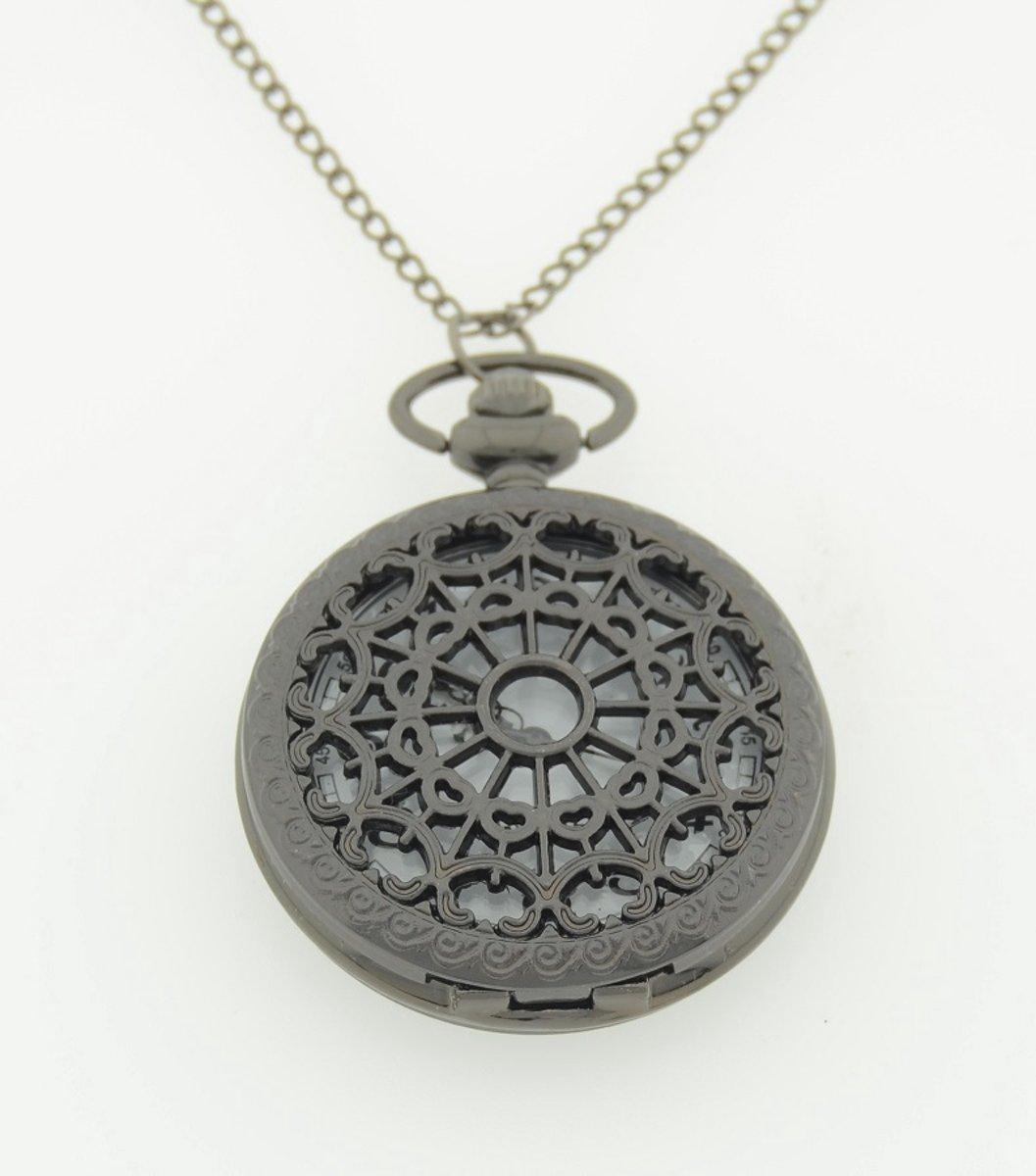 Treasure Trove® Opengewerkt Ketting Horloge Vrouwen - Dameshorloge - Zwart - 80cm kopen