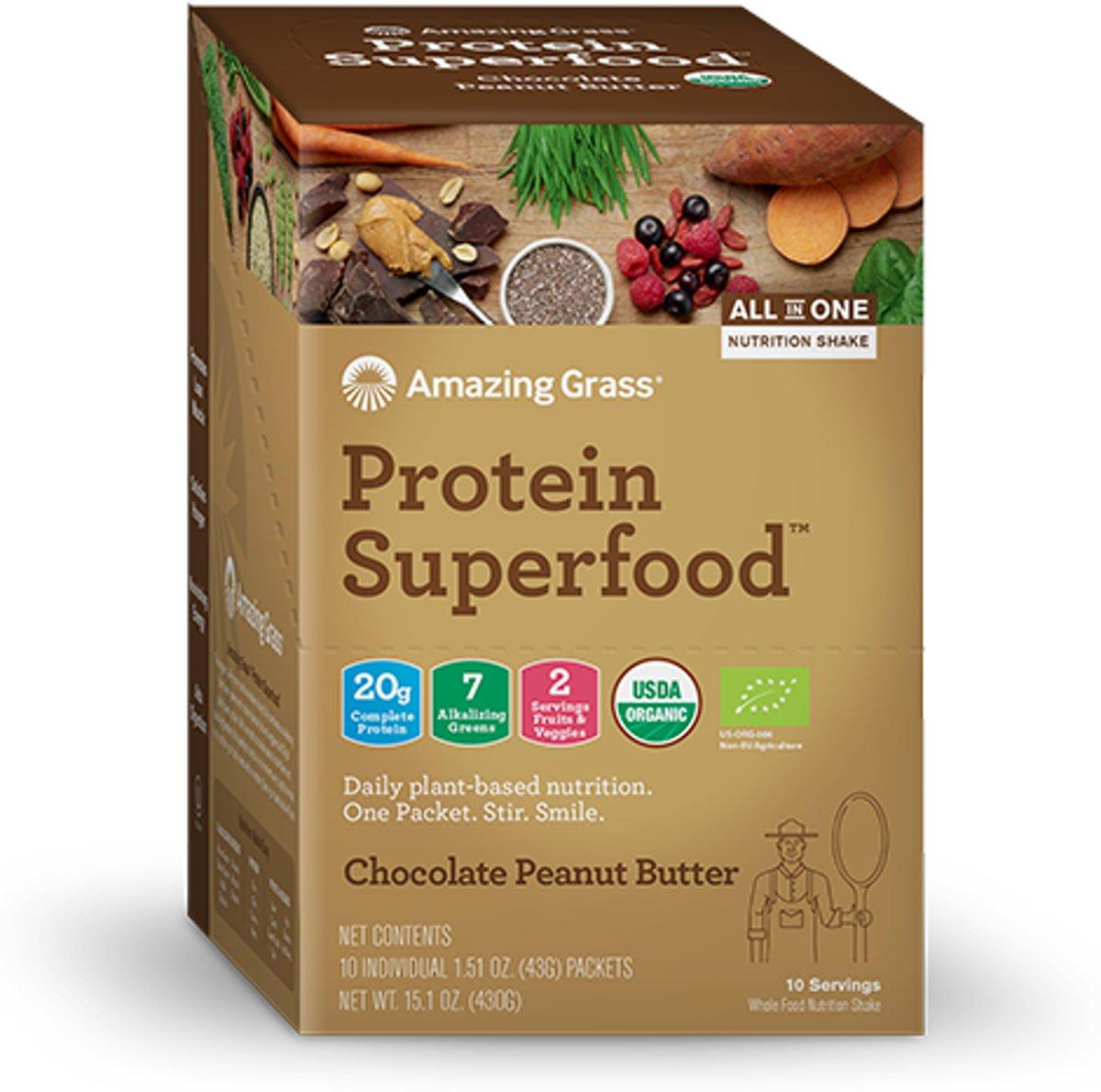 Amazing Grass Protein Superfoods - Chocolate Peanut Butter - 10 Vegan sachets (290 gram) kopen