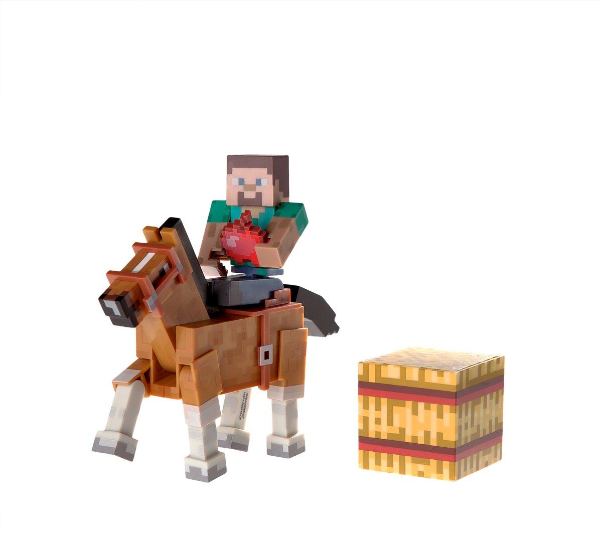 Speelfiguur Minecraft Steve Met Bruin Paard