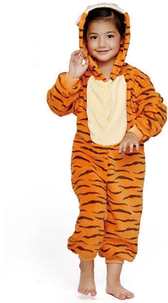 36f3ceb1451 ... KIMU Onesie Teigetje kinder pak tijger kostuum - maat 146-152 -  tijgerpak oranje jumpsuit ...
