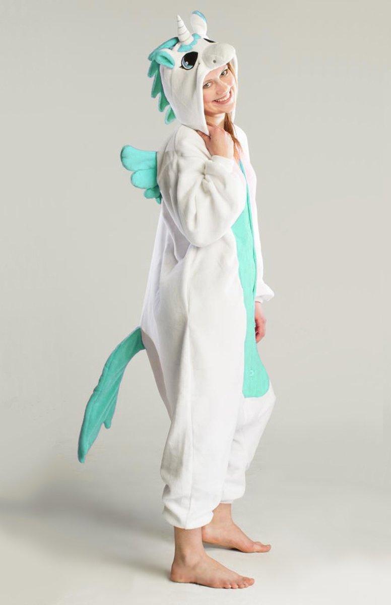 KIMU Onesie Pegasus eenhoorn pak wit turquoise unicorn kostuum - maat S-M - unicornpak jumpsuit huispak festival