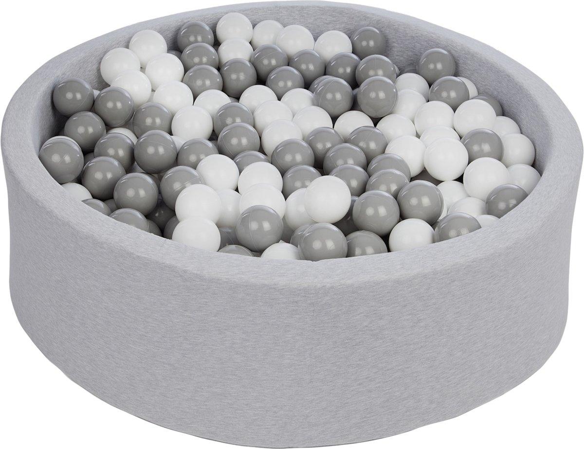 Zachte Jersey baby kinderen Ballenbak met 450 ballen,  - wit, grijs