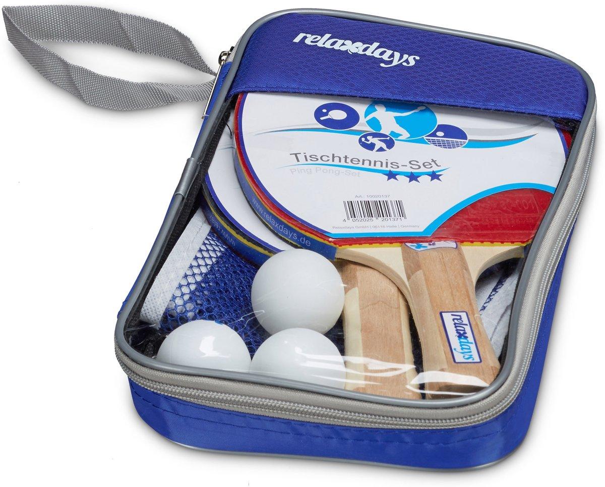 relaxdays - tafeltennis set met 2 batjes, 3 ballen, net en tasje - pingpong set kopen