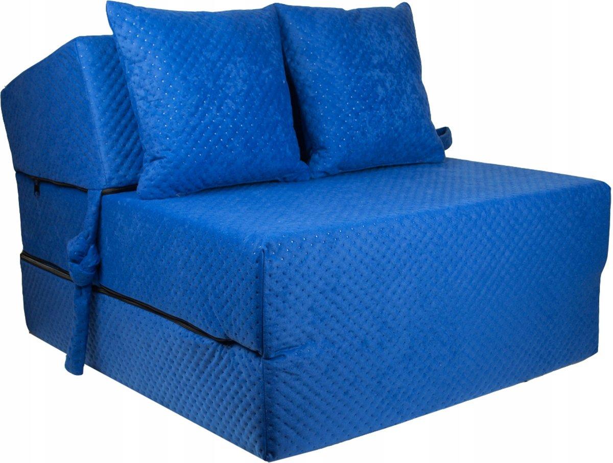 Luxe logeermatras - blauw - camping matras - reismatras - opvouwbaar matras - 200 x 70 x 15 - met kussens