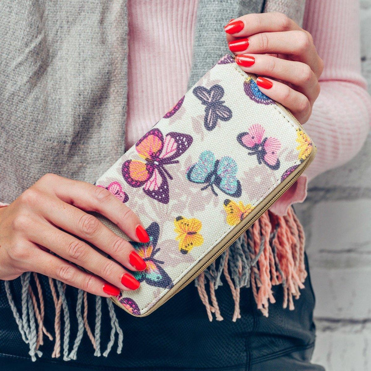 507dd3f4881 bol.com | Hazel & Pip VLINDERS Patroon Canvas Strandtas Shopper met bijpassende  Portemonnee Vlinder