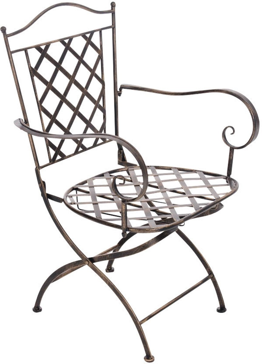 Clp Tuinstoel ADARA, terrasstoel, balkonstoel, landhuis stijl, vintage, retro, country life stijl, met armleuningen, handgemaakte metalen tuinstoel, v
