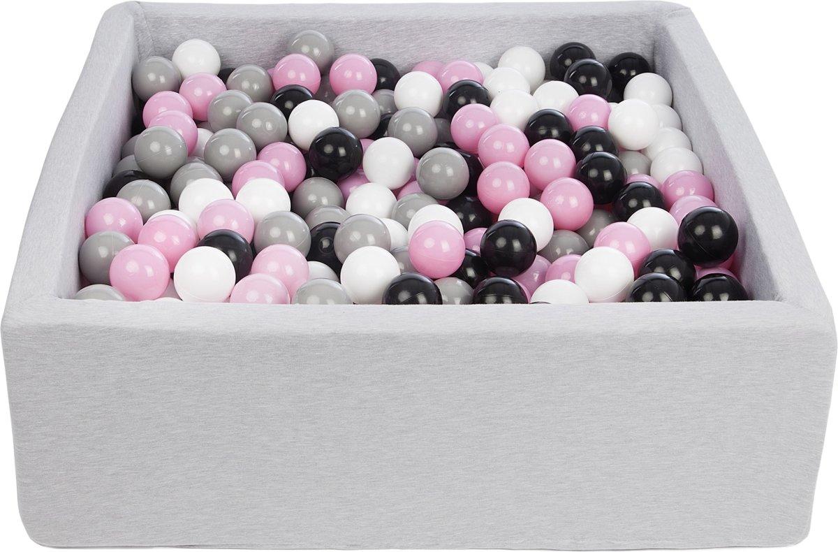 Zachte Jersey baby kinderen Ballenbak met 450 ballen, 90x90 cm - zwart, wit, lichtroze, grijs