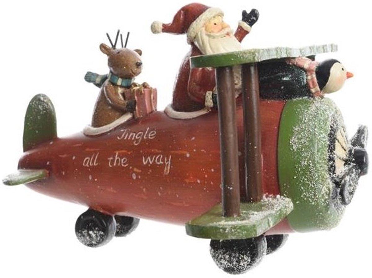 Vliegtuig poly kerstman 23x26x18cm Kerstartikelen kopen