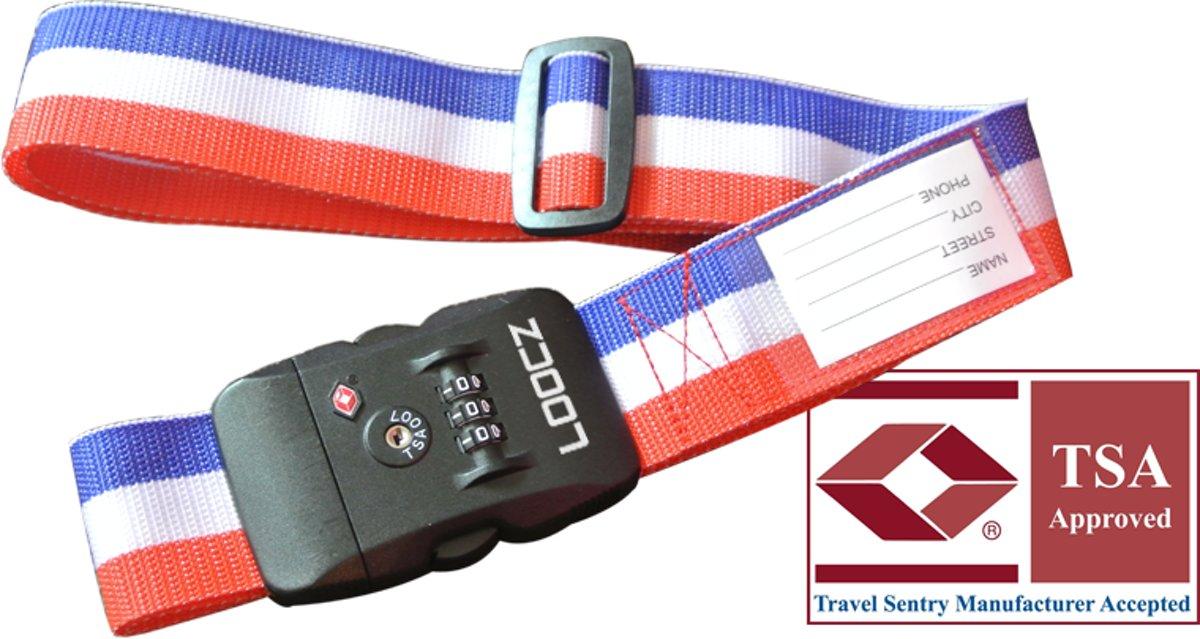 Loocz bagageriem – kofferriem – kofferband – luggage strap – gesp – met TSA cijfer 3 cijferig slot – met kofferslot 200 cm – Nederlandse vlag rood wit blauw kopen
