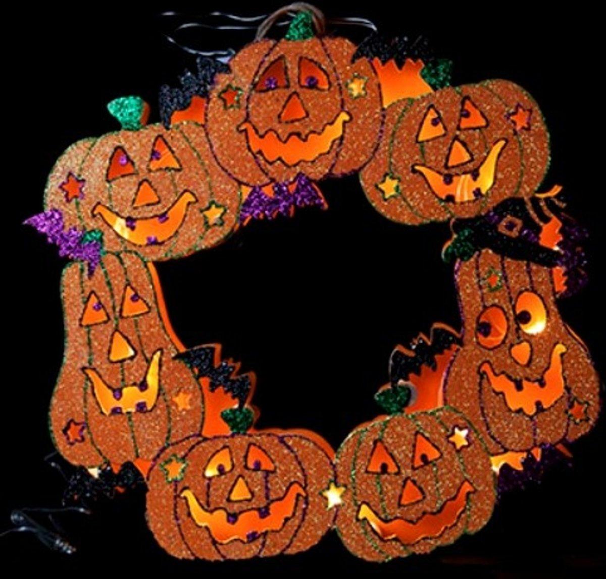 Halloween pompoen krans 10 led kopen