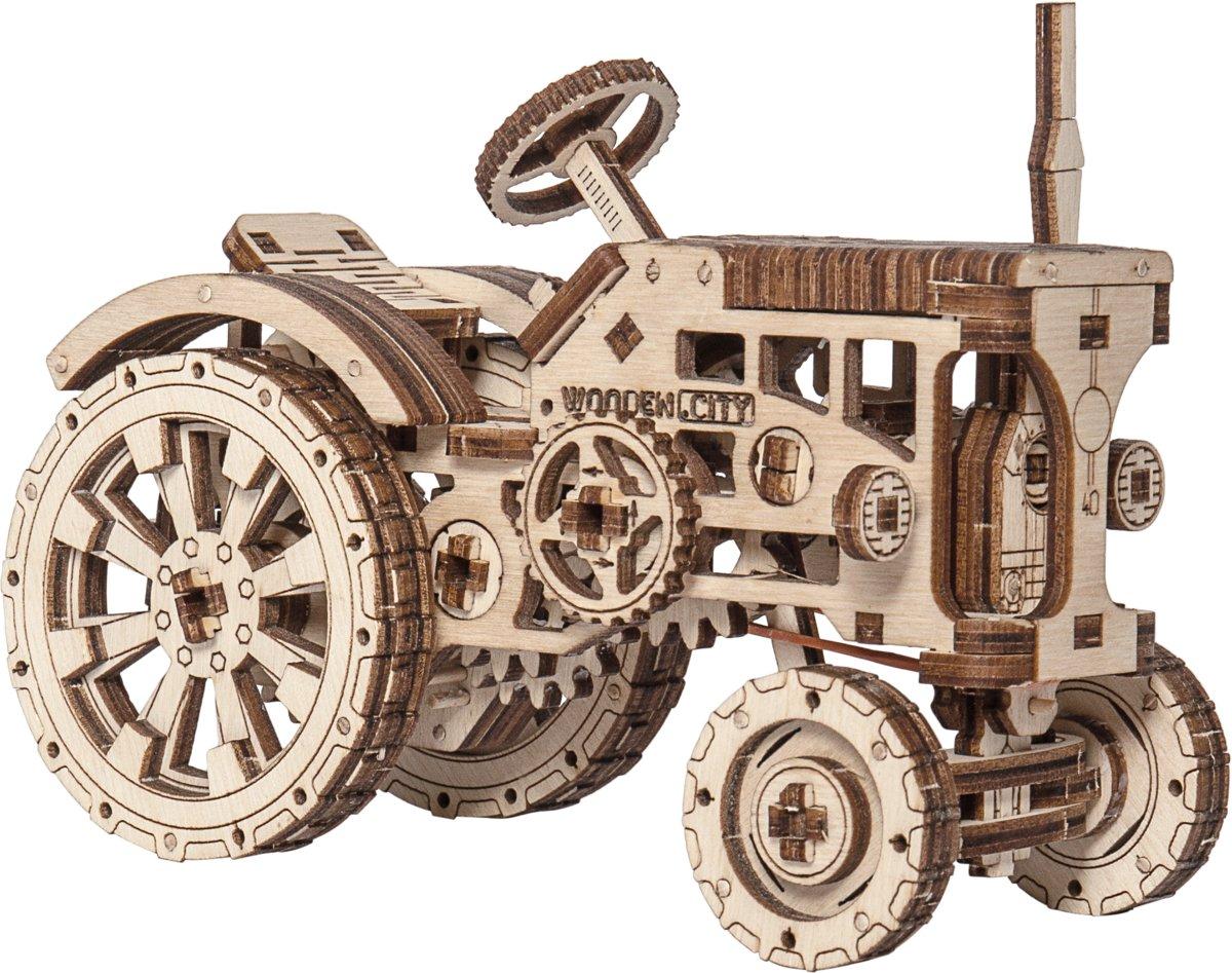 Wooden City Tractor - Houten Modelbouw kopen