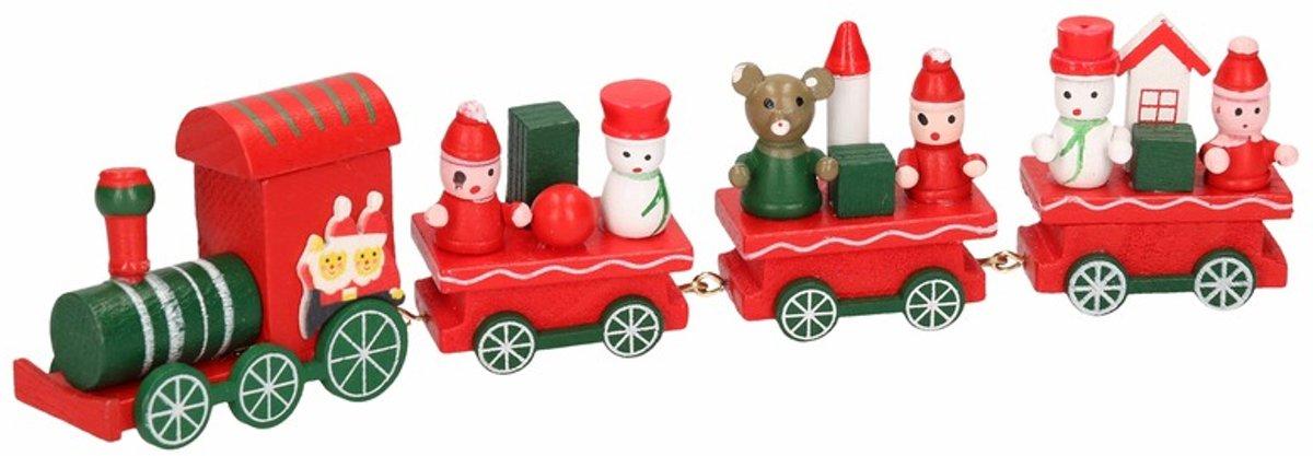 Kersttrein rood/groen van hout 25 cm type II kopen