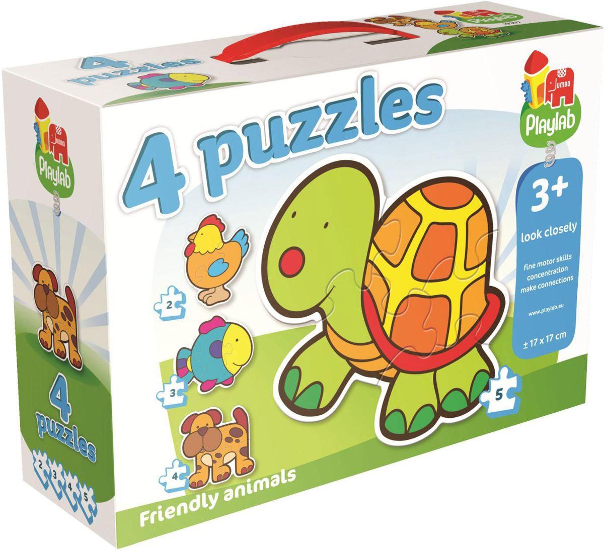 4-in-1 vriendelijke dieren Legpuzzels - Playlab - Jumbo