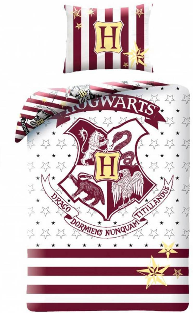 Harry Potter Hogwarts Dekbedovertrek - Eenpersoons - 140x200 cm - Wit kopen