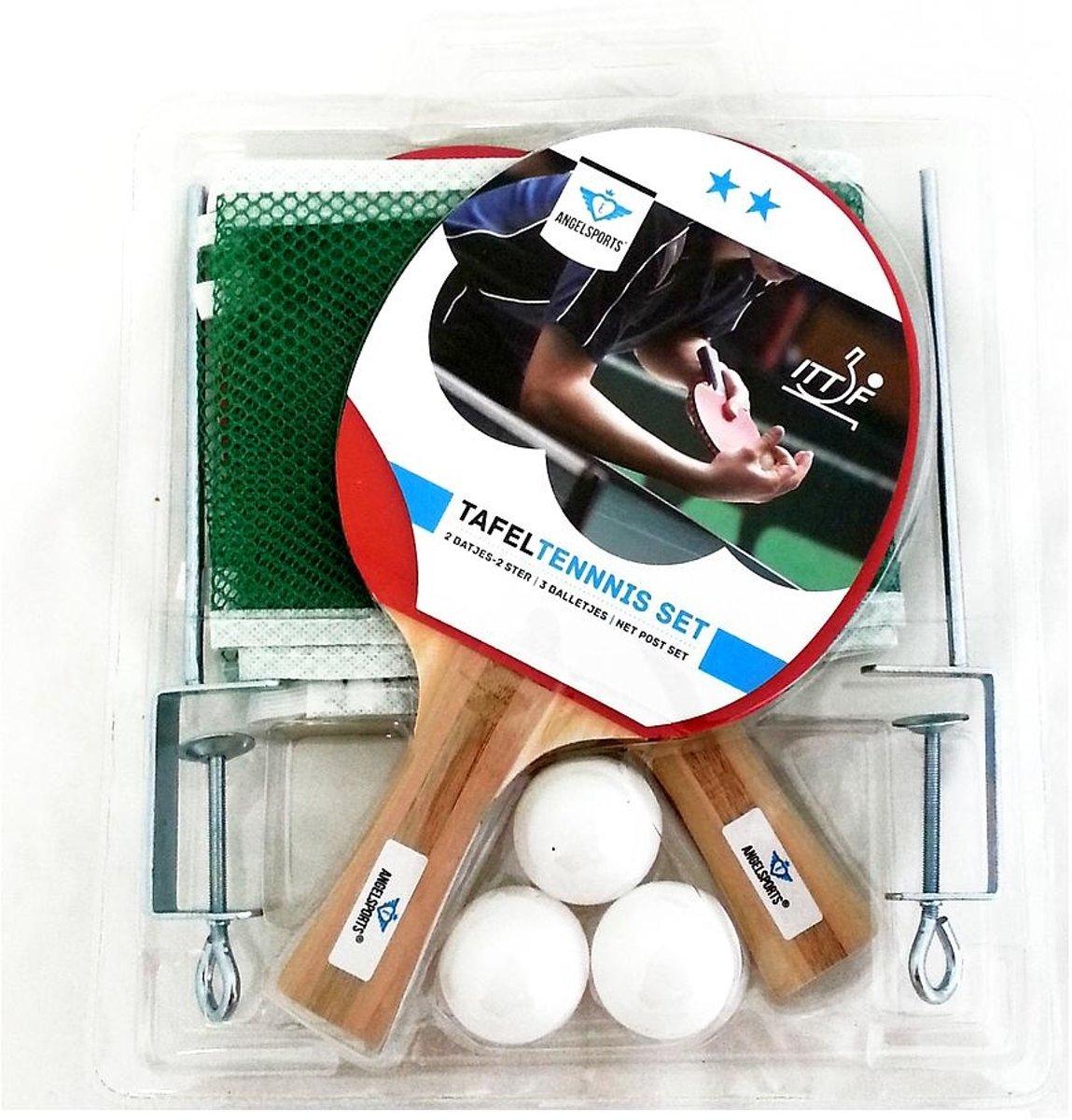Angel Sports Tafeltennis Set 2 Ster Met Netpost En Ballen kopen