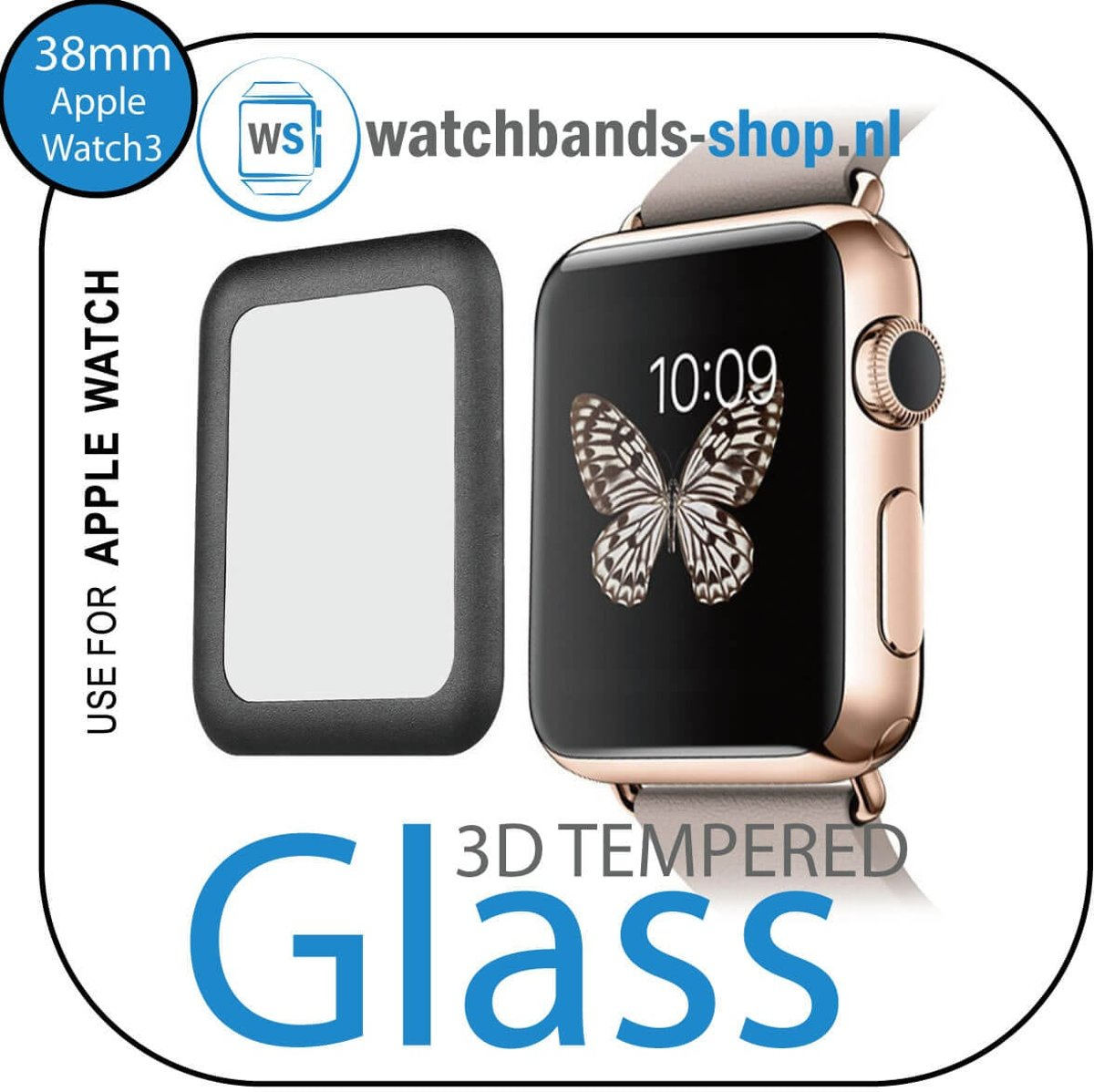 38mm full Cover 3D Tempered Glass Screen Protector For Apple watch / iWatch 3 black edge Watchbands-shop.nl kopen