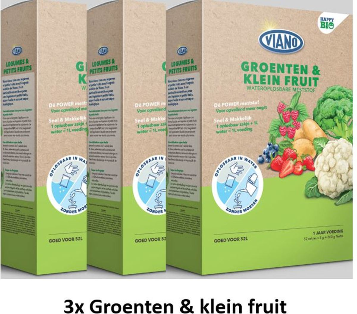 3 stuks Viano BIO wateroplosbare meststof voor Groenten en kleinfruit 52x5gr