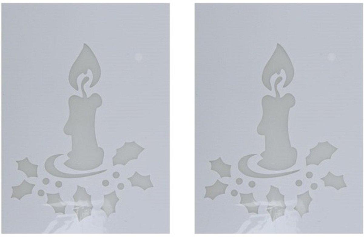 2x Kerst raamsjablonen kaarsen plaatjes 35 cm - Raamdecoratie Kerst - Sneeuwspray sjabloon kopen