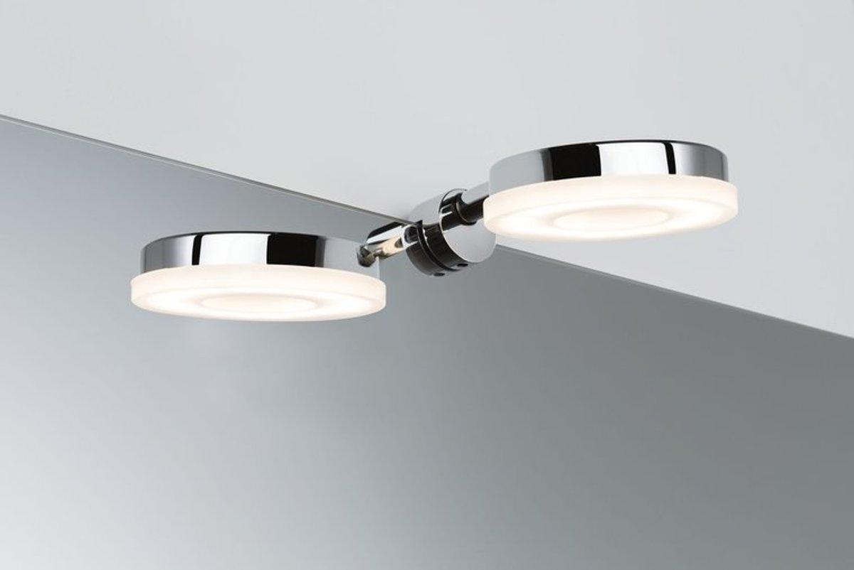 Spiegellamp Badkamer Inrichten : Bol.com paulmann becrux spiegellamp 4w rond chroom warm wit