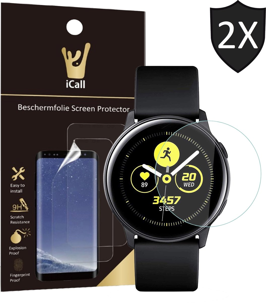 iCall - Samsung Galaxy Watch Active Screenprotector - Crystal Clear Screen Protector Volledig Beeld Full Screen Cover - 2 Stuks kopen