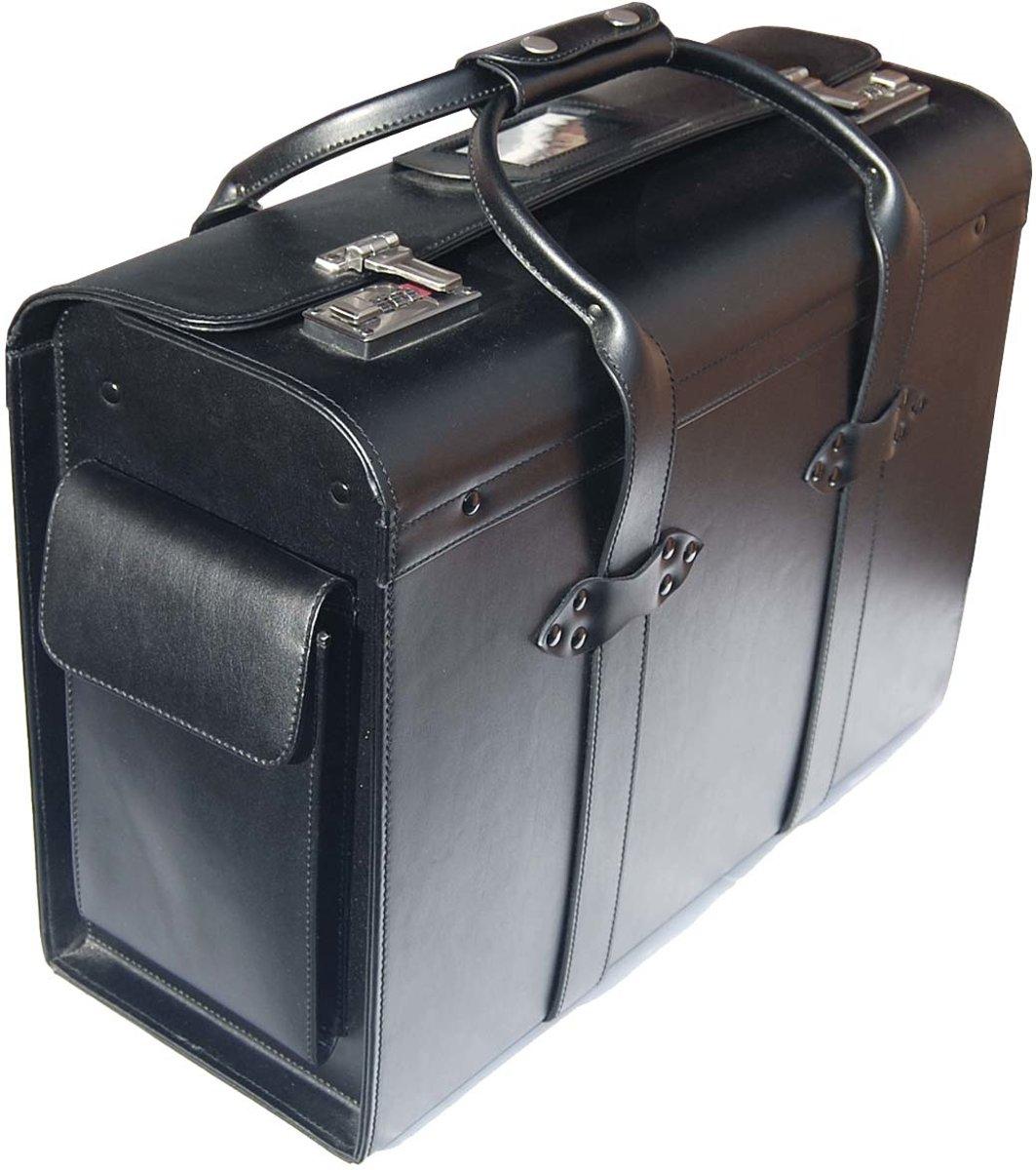 Italiaans Leren Pilot Case Met Dubbele Handgreep - Dokterstas - Handbagage - Pilotenkoffer (50083) kopen