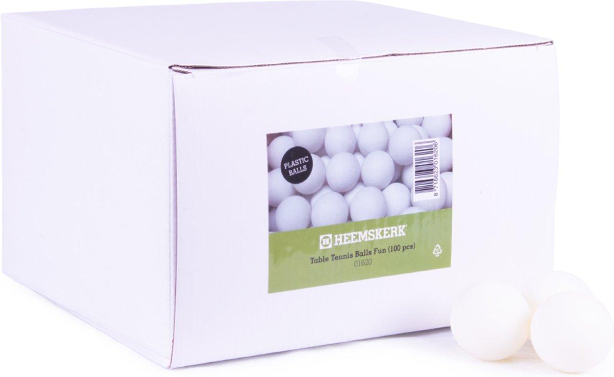 Tafeltennisballen Heemskerk Fun Plastic wit 100stuks