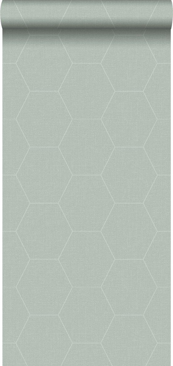 Behang Steigerhout Motief.Estahome Behang Honingraat Motief Celadon Groen 148750