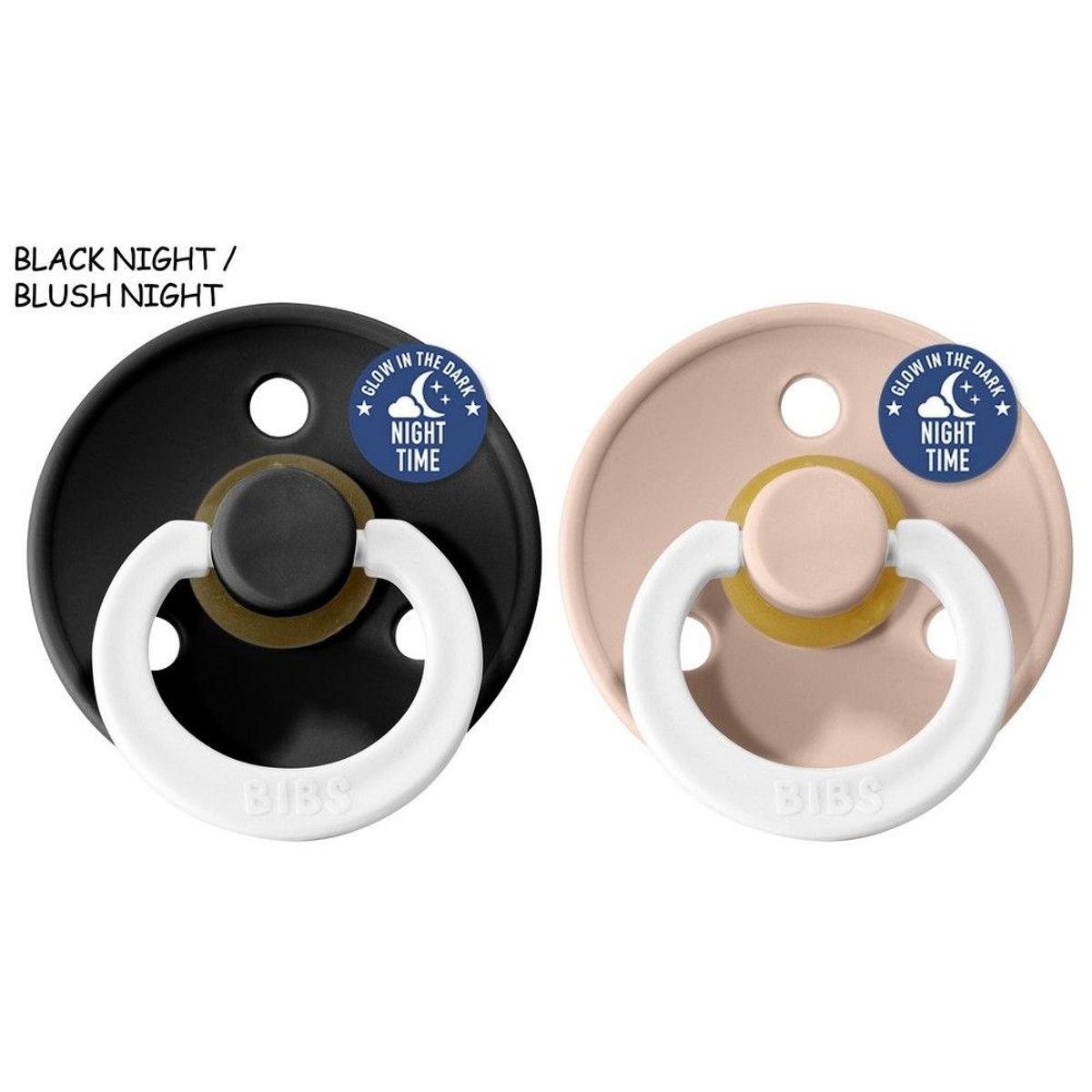 Bibs fopspenen glow in the dark 6-18 maanden 2st Black + Blush kopen