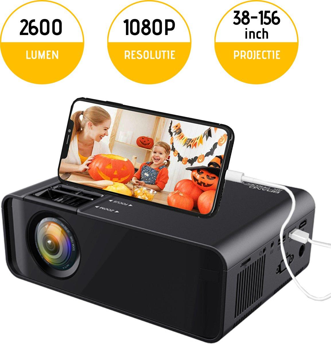 Mini Beamer met Telefoonaansluiting - Miniprojector - Videoprojector - Projector kopen